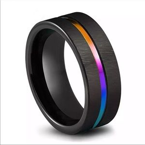8mm Black Stainless Steel Men Wedding Band ring